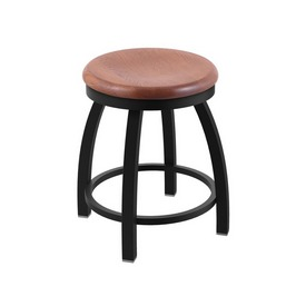 "802 Misha 18"" Swivel Vanity Stool with Black Wrinkle Finish and Medium Oak Seat"