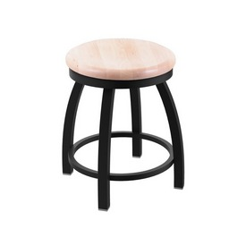 "802 Misha 18"" Swivel Vanity Stool with Black Wrinkle Finish and Natural Maple Seat"