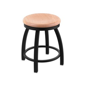 "802 Misha 18"" Swivel Vanity Stool with Black Wrinkle Finish and Natural Oak Seat"