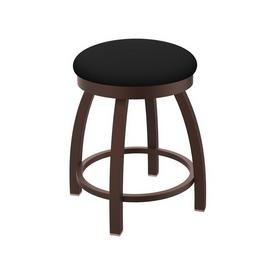 "802 Misha 18"" Swivel Vanity Stool with Bronze Finish and Black Vinyl Seat"