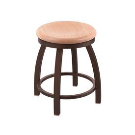 "802 Misha 18"" Swivel Vanity Stool with Bronze Finish and Natural Oak Seat"