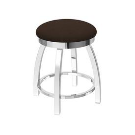 "802 Misha 18"" Swivel Vanity Stool with Chrome Finish and Rein Coffee Seat"