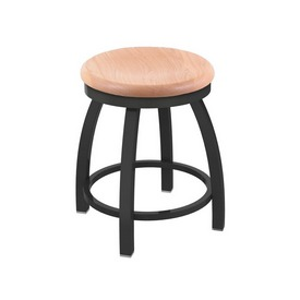 "802 Misha 18"" Swivel Vanity Stool with Pewter Finish and Natural Oak Seat"