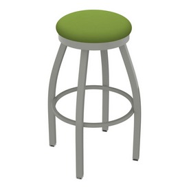802 Misha Swivel Stool with Anodized Nickel Finish and Canter Kiwi Green Seat