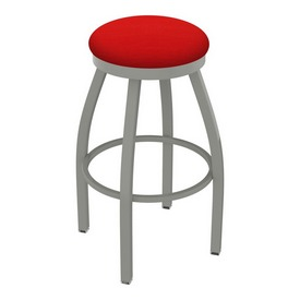 802 Misha Swivel Stool with Anodized Nickel Finish and Canter Red Seat