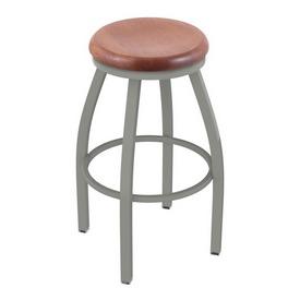 802 Misha Swivel Stool with Anodized Nickel Finish and Medium Oak Seat
