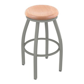 802 Misha Swivel Stool with Anodized Nickel Finish and Natural Oak Seat