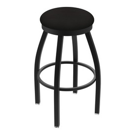"802 Misha 36"" Swivel Extra Tall Bar Stool with Black Wrinkle Finish and Canter Espresso Seat"