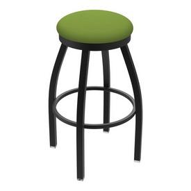 "802 Misha 36"" Swivel Extra Tall Bar Stool with Black Wrinkle Finish and Canter Kiwi Green Seat"