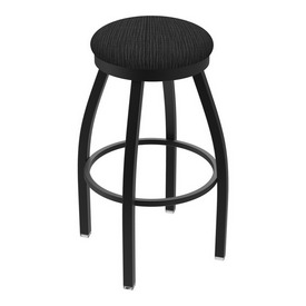 "802 Misha 36"" Swivel Extra Tall Bar Stool with Black Wrinkle Finish and Graph Coal Seat"