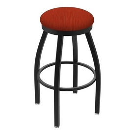 "802 Misha 36"" Swivel Extra Tall Bar Stool with Black Wrinkle Finish and Graph Poppy Seat"