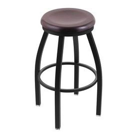 "802 Misha 36"" Swivel Extra Tall Bar Stool with Black Wrinkle Finish and Dark Cherry Maple Seat"