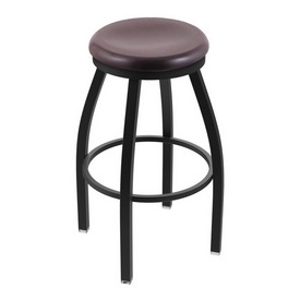 "802 Misha 36"" Swivel Extra Tall Bar Stool with Black Wrinkle Finish and Dark Cherry Oak Seat"