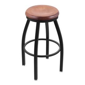 "802 Misha 36"" Swivel Extra Tall Bar Stool with Black Wrinkle Finish and Medium Maple Seat"