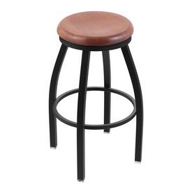 "802 Misha 36"" Swivel Extra Tall Bar Stool with Black Wrinkle Finish and Medium Oak Seat"