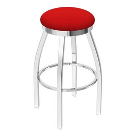 802 Misha Swivel Stool with Chrome Finish and Canter Red Seat