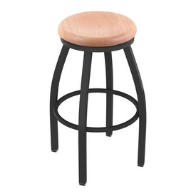 802 Misha Swivel Stool with Pewter Finish and Natural Oak Seat