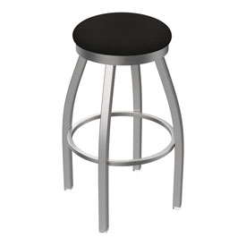 802 Misha Swivel Stool with Stainless Finish and Canter Espresso Seat