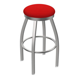802 Misha Swivel Stool with Stainless Finish and Canter Red Seat