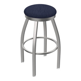 802 Misha Swivel Stool with Stainless Finish and Graph Anchor Seat