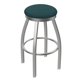 802 Misha Swivel Stool with Stainless Finish and Graph Tidal Seat