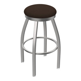 802 Misha Swivel Stool with Stainless Finish and Rein Coffee Seat