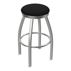 802 Misha Swivel Stool with Stainless Finish and Black Vinyl Seat