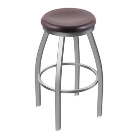802 Misha Swivel Stool with Stainless Finish and Dark Cherry Oak Seat