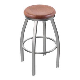 802 Misha Swivel Stool with Stainless Finish and Medium Oak Seat