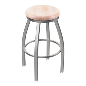 802 Misha Swivel Stool with Stainless Finish and Natural Maple Seat