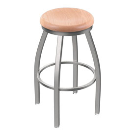 802 Misha Swivel Stool with Stainless Finish and Natural Oak Seat