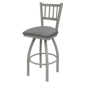 810 Contessa Swivel Stool with Anodized Nickel Finish and Canter Folkstone Grey Seat