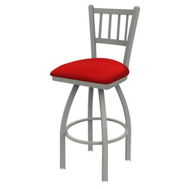 810 Contessa Swivel Stool with Anodized Nickel Finish and Canter Red Seat