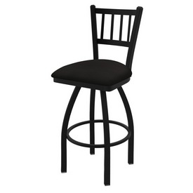 810 Contessa Swivel Stool with Black Wrinkle Finish and Canter Espresso Seat