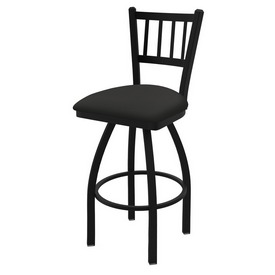 "810 Contessa 36"" Swivel Bar Stool with Black Wrinkle Finish and Canter Iron Seat"