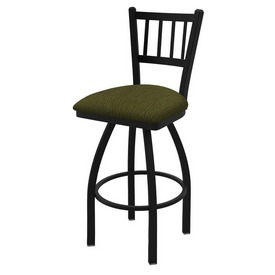 810 Contessa Swivel Stool with Black Wrinkle Finish and Graph Parrot Seat