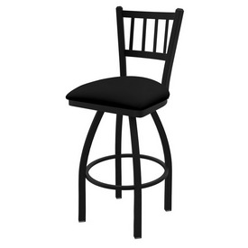 "810 Contessa 36"" Swivel Bar Stool with Black Wrinkle Finish and Black Vinyl Seat"