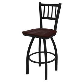 "810 Contessa 36"" Swivel Bar Stool with Black Wrinkle Finish and Dark Cherry Maple Seat"