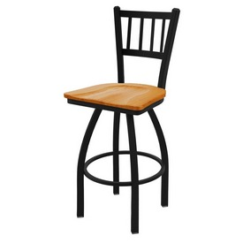 810 Contessa Swivel Stool with Black Wrinkle Finish and Medium Oak Seat