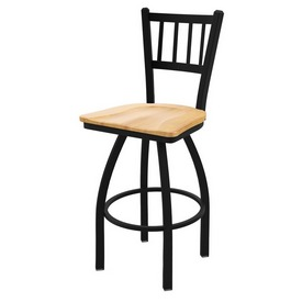 "810 Contessa 36"" Swivel Bar Stool with Black Wrinkle Finish and Natural Maple Seat"