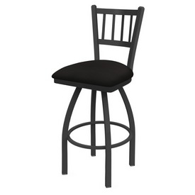 810 Contessa Swivel Stool with Pewter Finish and Canter Espresso Seat