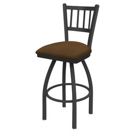 810 Contessa Swivel Stool with Pewter Finish and Rein Thatch Seat