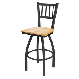 810 Contessa Swivel Stool with Pewter Finish and Natural Oak Seat