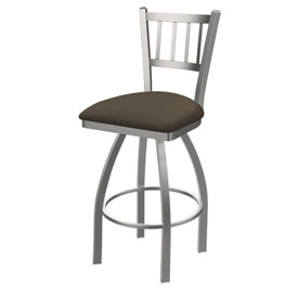 810 Contessa Swivel Stool with Stainless Finish and Canter Earth Seat