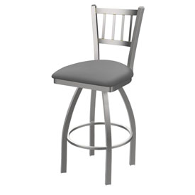 810 Contessa Swivel Stool with Stainless Finish and Canter Folkstone Grey Seat