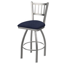 810 Contessa Swivel Stool with Stainless Finish and Graph Anchor Seat
