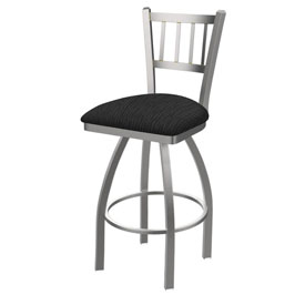 810 Contessa Swivel Stool with Stainless Finish and Graph Coal Seat