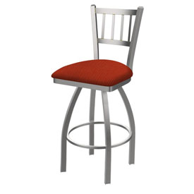 810 Contessa Swivel Stool with Stainless Finish and Graph Poppy Seat