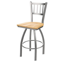 810 Contessa Swivel Stool with Stainless Finish and Natural Maple Seat
