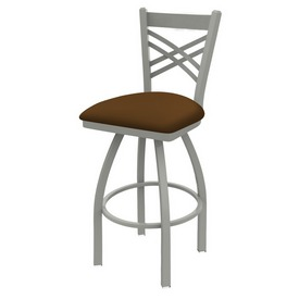820 Catalina Swivel Stool with Anodized Nickel Finish and Canter Thatch Seat